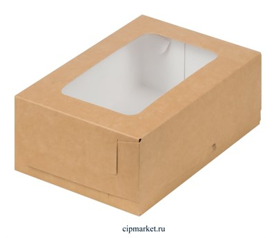 Коробка для пирожных и зефира с окном Крафт. Размер: 19х13х7,5 см - фото 10054