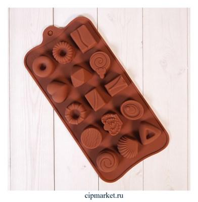 """Форма силиконовая для шоколада """"Печенье и конфеты"""" 20х10 см, 15 ячеек - фото 10082"""