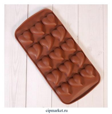 """Форма силиконовая для шоколада """"Сердца любви"""" 20х10 см, 15 ячеек - фото 10084"""