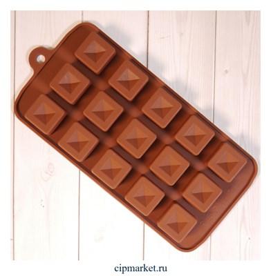 """Форма силиконовая для шоколада """"Пирамида в кубе"""" 20х10 см, 15 ячеек - фото 10086"""
