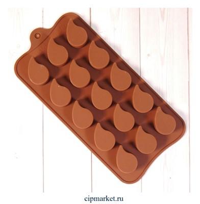 """Форма силиконовая для шоколада """"Капли"""" 20х10 см, 15 ячеек - фото 10088"""