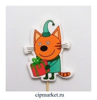 Топпер сахарный Три кота Коржик - 92. Высота фигурки 9 см. Вес:40 +/-10 грамм. Лицензия - фото 10150