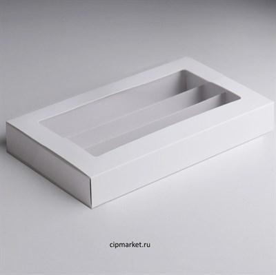 Коробка для макарон с пластиковой крышкой и ложементом Белая. Размер: 21х11х5.5 см - фото 10288