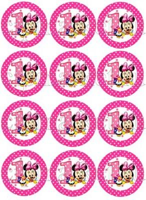 Съедобная картинка Микки один год для капкейков № 01210, лист А4.  Вафельная/сахарная картинка. - фото 4600