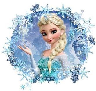 Съедобная картинка Эльза в снежинках № 1618, лист А4.  Вафельная/сахарная картинка. - фото 4613