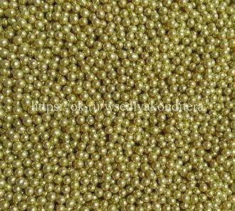 Шарики сахарные металлизированные Золотые, 3 мм. Вес: 30 гр. - фото 4816