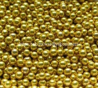 Шарики сахарные металлизированные Золотые, 7 -8 мм. Вес: 30 гр. - фото 4818