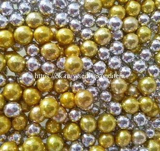 Шарики сахарные металлизированные Микс №4, 5 мм. Вес: 30 грамм. - фото 4824