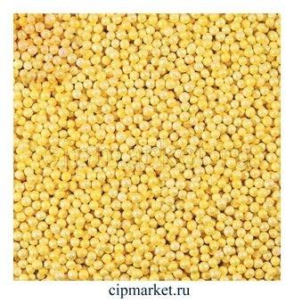 Посыпка шарики Желтые, 2 мм, вес: 50 гр. - фото 4921