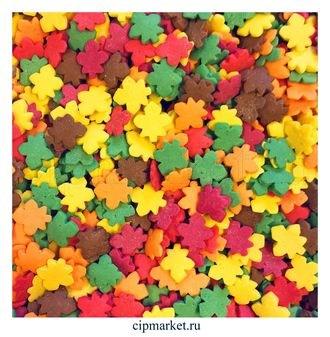 Посыпка Листья осенние разноцветные. Вес: 50 гр. - фото 5005