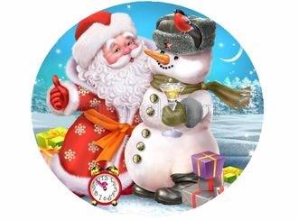 Съедобная картинка  Дед Мороз и Снеговик № 091, лист А4. Вафельная/сахарная картинка. - фото 5198