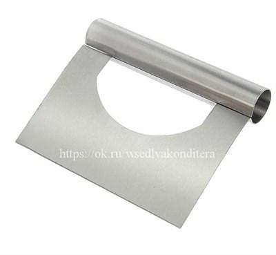 Шпатель-скребок металлический с отверстием. Размер: 15*12 см. - фото 5501