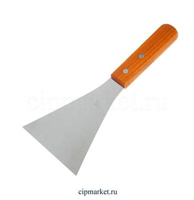 Лопатка-скребок прямая широкая с деревянной ручкой. Размер: 25х10 см. - фото 5514