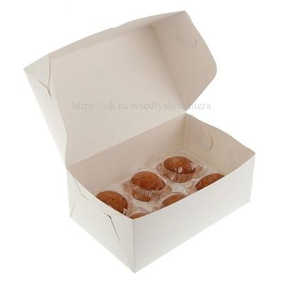 Коробка на 6 капкейков. Материал: картон. Россия. Размер: 25 х 17 х 10 см. - фото 5663