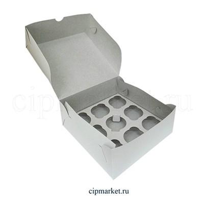 Коробка на 9 капкейков Эконом. Материал: картон. Россия. Размер: 25 х 25 х 10 см. - фото 5670
