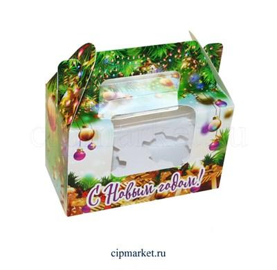 Коробка на 2 капкейка №31 с окном (Новый год). Размер: 16 х 8  х 10 см. - фото 5678