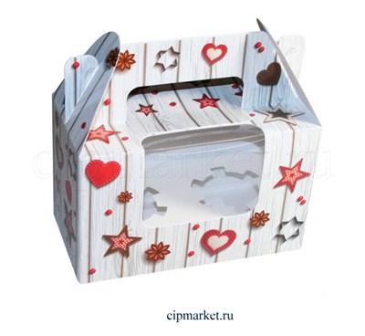 Коробка на 2 капкейка с окном  №40 (Сердца и звезды). Размер: 16 х 8  х 10 см. - фото 5679