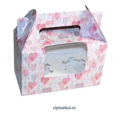 Коробка на 2 капкейка с окном  №39 (Сердца). Размер: 16 х 8  х 10 см. - фото 5681