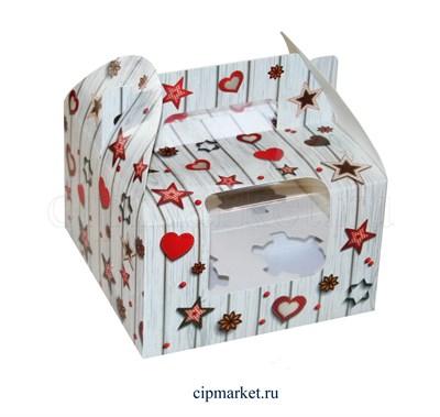 Коробка на 4 капкейка с окном МК (Сердца и звезды). Размер: 16 х 16  х 10 см. - фото 5683