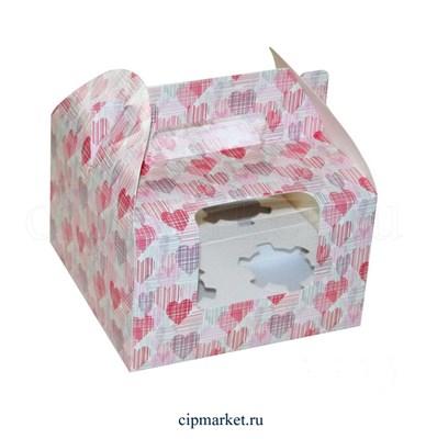 Коробка на 4 капкейка с окном МК (Сердца). Размер: 16 х 16  х 10 см - фото 5688