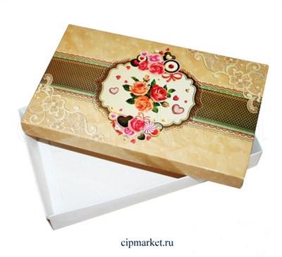 Коробка для конфет и сладостей №52 (Розы в раме). Размер: 25 х 15  х 4 см. - фото 5692
