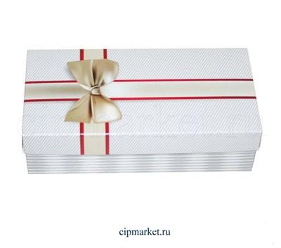 Коробка для конфет и сладостей №51 (Белая с бантом). Размер: 20 х 10  х 5,5 см. - фото 5694