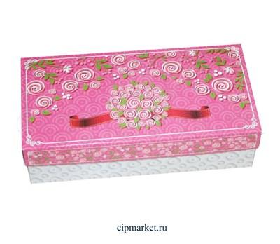 Коробка для конфет и сладостей №48 (Розовые розы). Размер: 20 х 10  х 5,5 см. - фото 5695