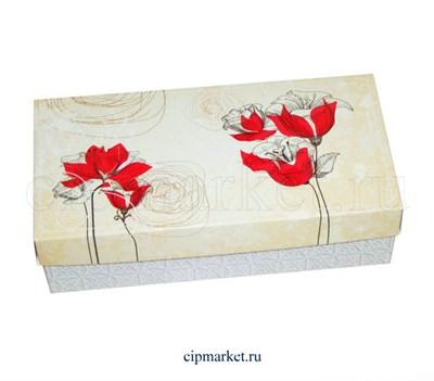 Коробка для конфет и сладостей №49 (Красные цветы). Размер: 20 х 10  х 5,5 см. - фото 5696
