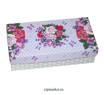 Коробка для конфет и сладостей №50 (Сиреневая с розами). Размер: 20 х 10  х 5,5 см. - фото 5697