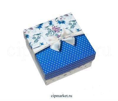 Коробка для конфет и сладостей №53 (Синяя с бантом). Размер: 10 х 10 х 5,5 см. - фото 5699