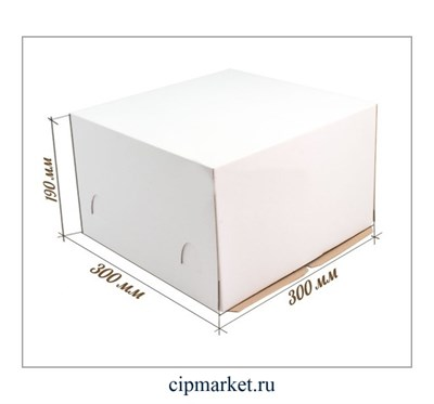 Коробка для торта. Материал: плотный картон. Россия. Размер: 30*30*19 см. - фото 5705