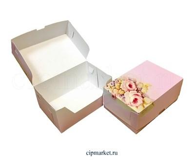 Коробка для сладостей и пирожных Розовая РК (Розы). Размер: 18 х 12 х 8 см. - фото 5729