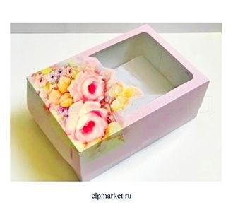 Коробка для сладостей и пирожных с окном Розовая РК (Розы). Размер: 23,5 х16 х10 см. - фото 5730