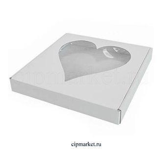 Коробка для пряников и сладостей с окном Сердце РП (Белая). Размер: 22*22*3 см. - фото 5739