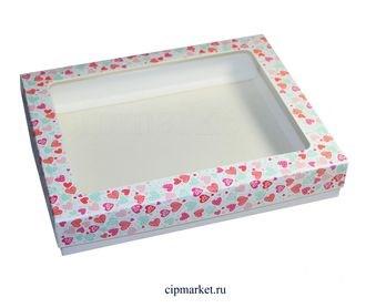 Коробка для пряников и сладостей с окном МК (Сердца). Размер: 21*17*3,5 см. - фото 5750