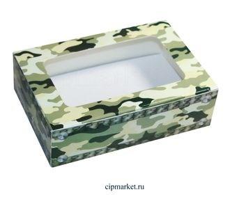 Коробка для пряников и сладостей с окном МК (Камуфляж).Размер:14*9,5*4 см. Вес:30 гр. - фото 5754