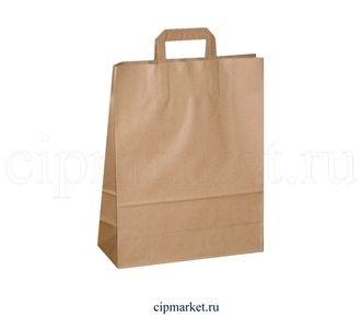 Пакет крафт коричневый с ручками МК. Размер: 24 х 14 х 29 см. - фото 5768
