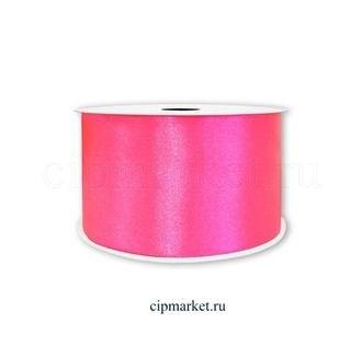 Лента атлас Розовый неон. Высота: 2,5 см. Длина: 22,85 м. - фото 5789