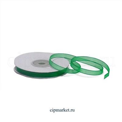 Лента органза Зеленая. Высота: 0.6 см. Длина: 22,85 м. - фото 5804