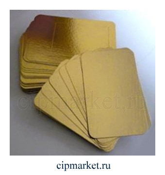 Подложка 30*40 см прямоугольная, золото, 0,8 мм. Картон ламинированный - фото 5891