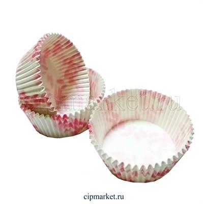 """Формы бумажные """"Розовый цветок"""", набор из 50 шт. Диаметр дна: 5,5 см, высота бортика: 3,2 см. Плотность: 57 гр. Италия. - фото 5897"""