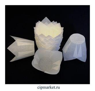 Формы для выпечки тюльпан Белые, набор 10 шт. Диаметр дна:5 см, высота: 8 см. - фото 5905