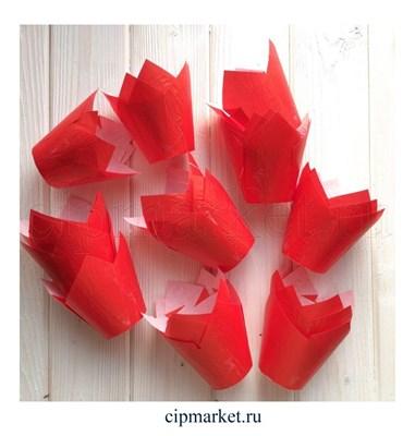 Формы для выпечки тюльпан Красные, набор 10 шт. Диаметр дна:5 см, высота: 8 см. - фото 5907