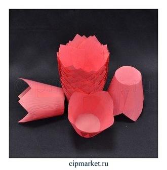 Формы для выпечки тюльпан Розовые, набор 10 шт. Диаметр дна:5 см, высота: 8 см. - фото 5909