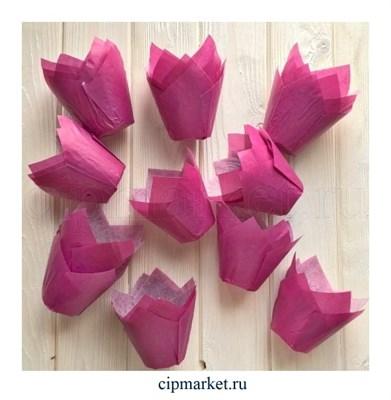 Формы для выпечки тюльпан Лиловые, набор 10 шт. Диаметр дна:5 см, высота: 8 см. - фото 5910
