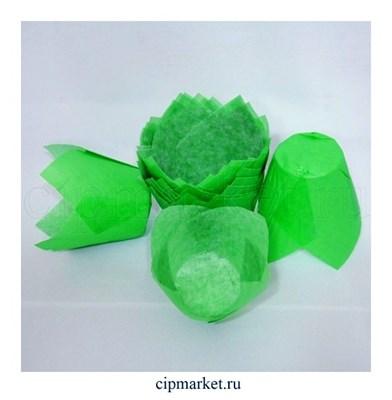 Формы для выпечки тюльпан Зеленые, набор 10 шт. Диаметр дна:5 см, высота: 8 см. - фото 5913