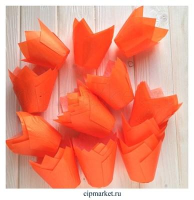 Формы для выпечки тюльпан Оранжевые, набор 10 шт. Диаметр дна:5 см, высота: 8 см. - фото 5915