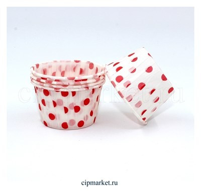Формы бумажные гофре Горох красный, набор 10 шт. Диаметр дна:5 см, высота:3,5 см. - фото 5926