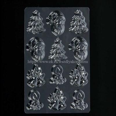 Молд пластиковый Рождество. Размер: 26*18 см, высота фигурок: 5-6 см. - фото 6031