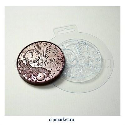 Форма для шоколада Медаль Новогодняя N1. Материал: пластик. Размер: 8 х8 х1 см. - фото 6032